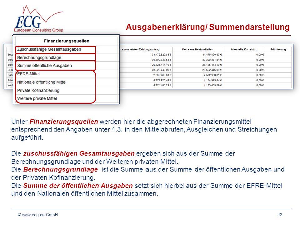 Ausgabenerklärung/ Summendarstellung 12© www.ecg.eu GmbH Unter Finanzierungsquellen werden hier die abgerechneten Finanzierungsmittel entsprechend den