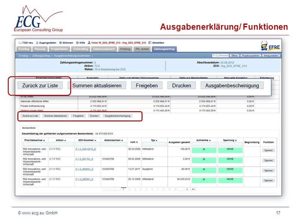 Ausgabenerklärung/ Funktionen Zwischen den beiden Tabellen befinden sich die Funktionsbuttons,, und. Mit Zurück zur Liste wird wieder in die Übersicht