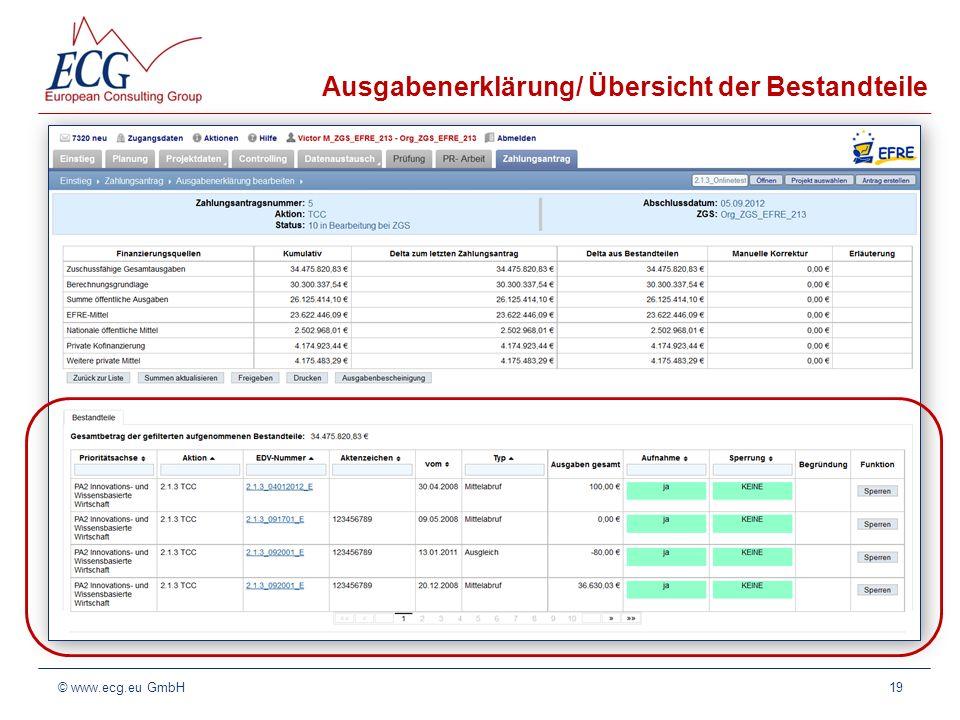 Ausgabenerklärung/ Übersicht der Bestandteile 19© www.ecg.eu GmbH