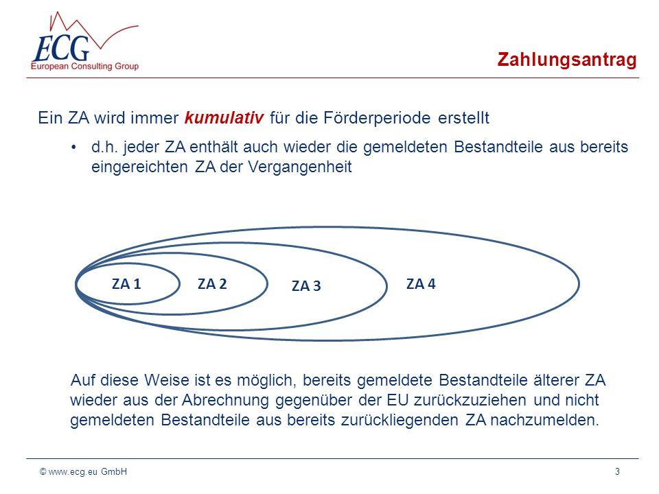 ZA Zahlungsantrag Bestandteile Jeder ZA besteht aus den Ausgabenerklärungen (AE) aller Aktionen 4© www.ecg.eu GmbH AE Aktion 1.1.1 AE Aktion 1.1.2 AE Aktion 1.1.3 AE Aktion 1.2.1 AE Aktion … AE Aktion 2.1.1 AE Aktion 2.1.2 AE Aktion 2.1.3 AE Aktion …