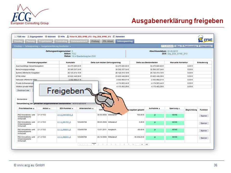 Ausgabenerklärung freigeben 36© www.ecg.eu GmbH
