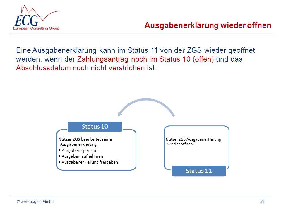 Ausgabenerklärung wieder öffnen Eine Ausgabenerklärung kann im Status 11 von der ZGS wieder geöffnet werden, wenn der Zahlungsantrag noch im Status 10