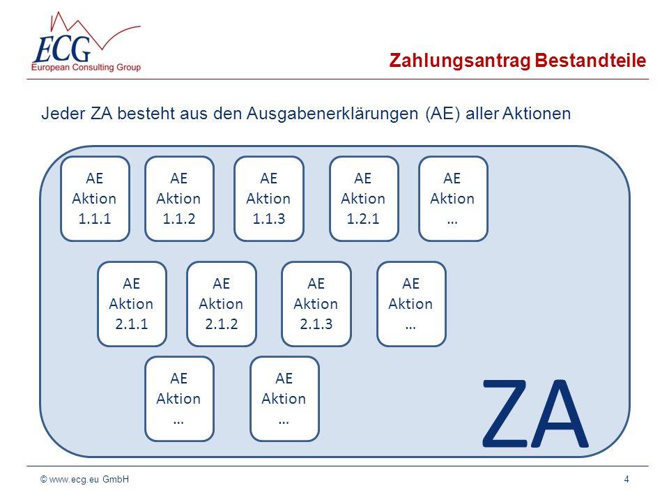 ZA Zahlungsantrag Bestandteile Jeder ZA besteht aus den Ausgabenerklärungen (AE) aller Aktionen 4© www.ecg.eu GmbH AE Aktion 1.1.1 AE Aktion 1.1.2 AE