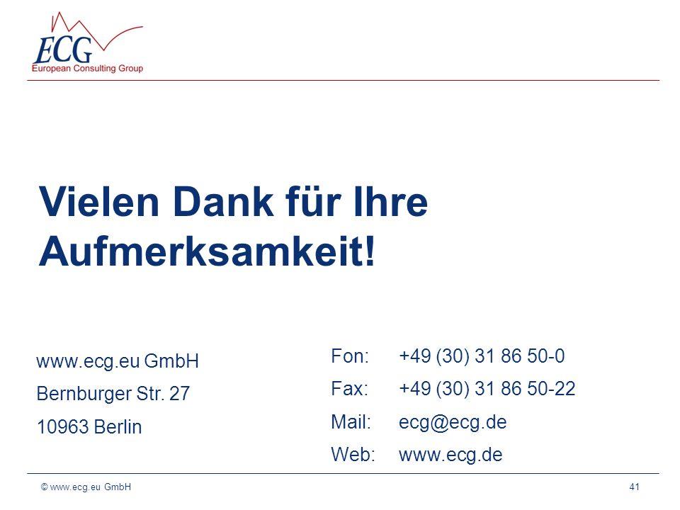 Vielen Dank für Ihre Aufmerksamkeit! 41 www.ecg.eu GmbH Bernburger Str. 27 10963 Berlin Fon: +49 (30) 31 86 50-0 Fax: +49 (30) 31 86 50-22 Mail: ecg@e