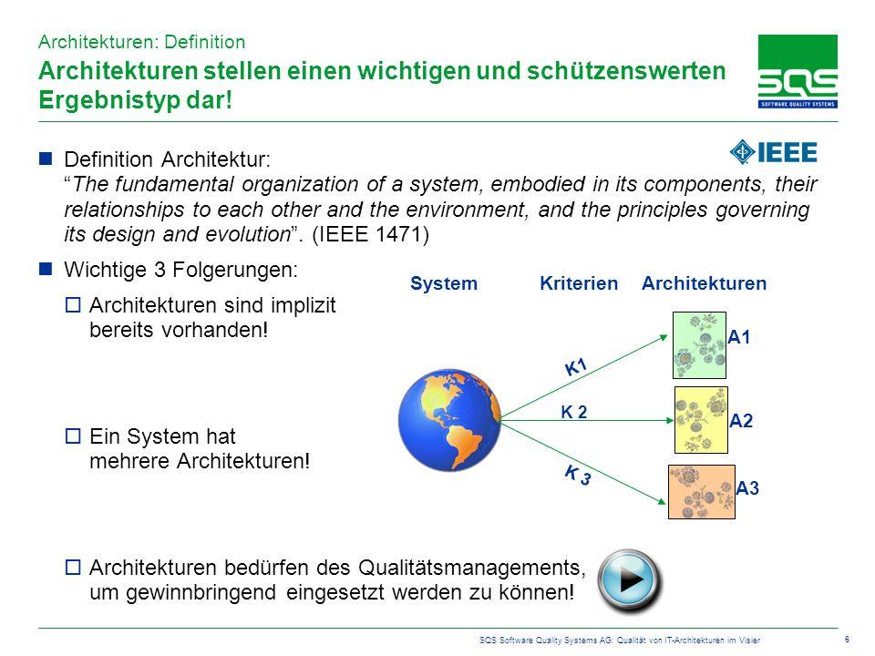 SQS Software Quality Systems AG: Qualität von IT-Architekturen im Visier 6 Architekturen stellen einen wichtigen und schützenswerten Ergebnistyp dar.