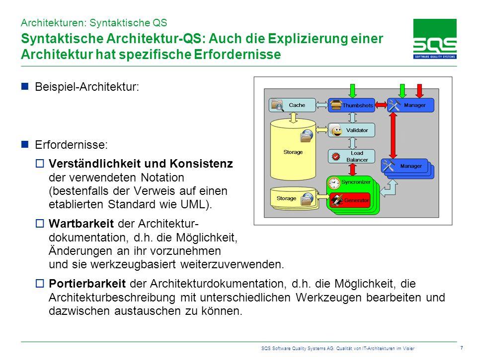 SQS Software Quality Systems AG: Qualität von IT-Architekturen im Visier 7 Syntaktische Architektur-QS: Auch die Explizierung einer Architektur hat spezifische Erfordernisse Beispiel-Architektur: Erfordernisse: Verständlichkeit und Konsistenz der verwendeten Notation (bestenfalls der Verweis auf einen etablierten Standard wie UML).