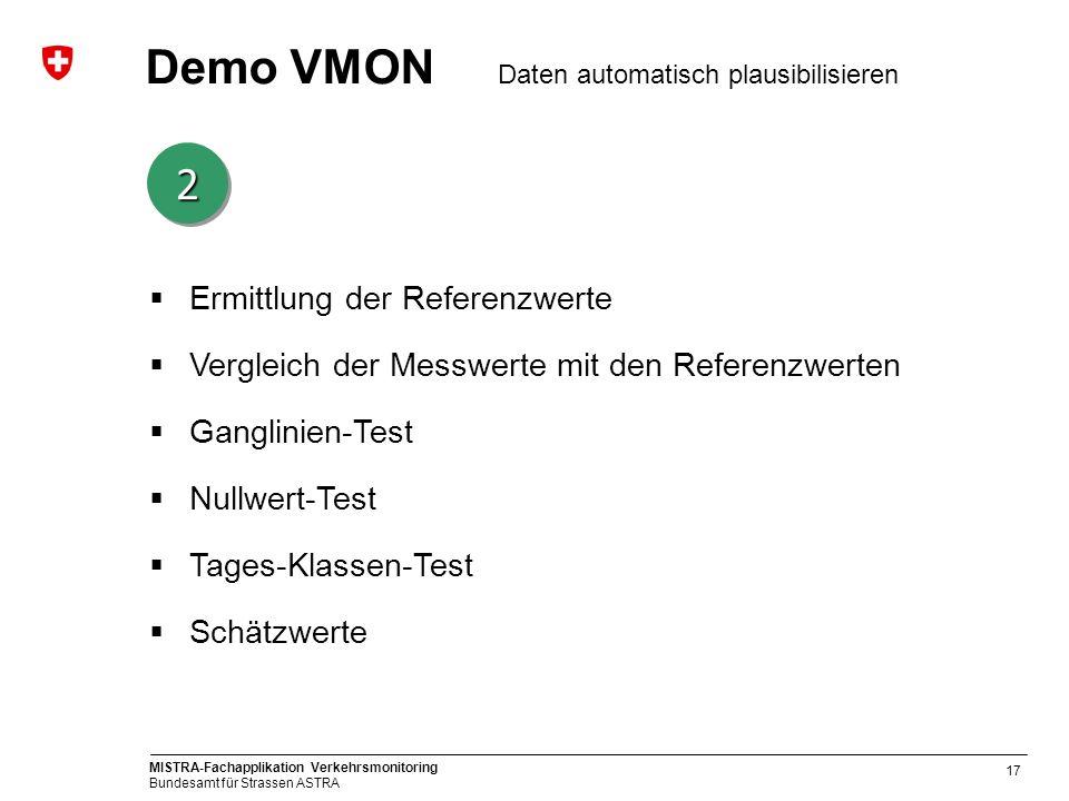MISTRA-Fachapplikation Verkehrsmonitoring Bundesamt für Strassen ASTRA 17 Demo VMON Daten automatisch plausibilisieren 22 Ermittlung der Referenzwerte