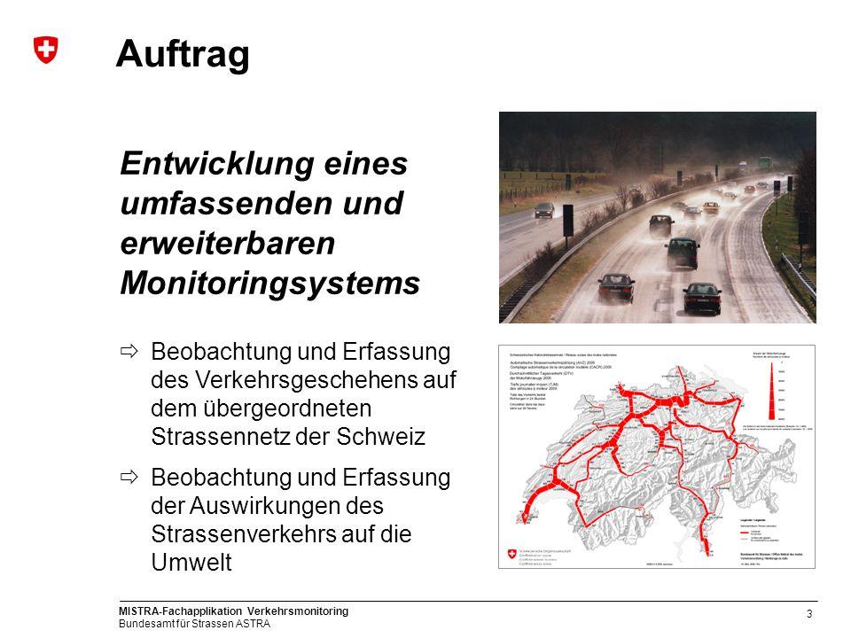 MISTRA-Fachapplikation Verkehrsmonitoring Bundesamt für Strassen ASTRA 3 Auftrag Entwicklung eines umfassenden und erweiterbaren Monitoringsystems Beo