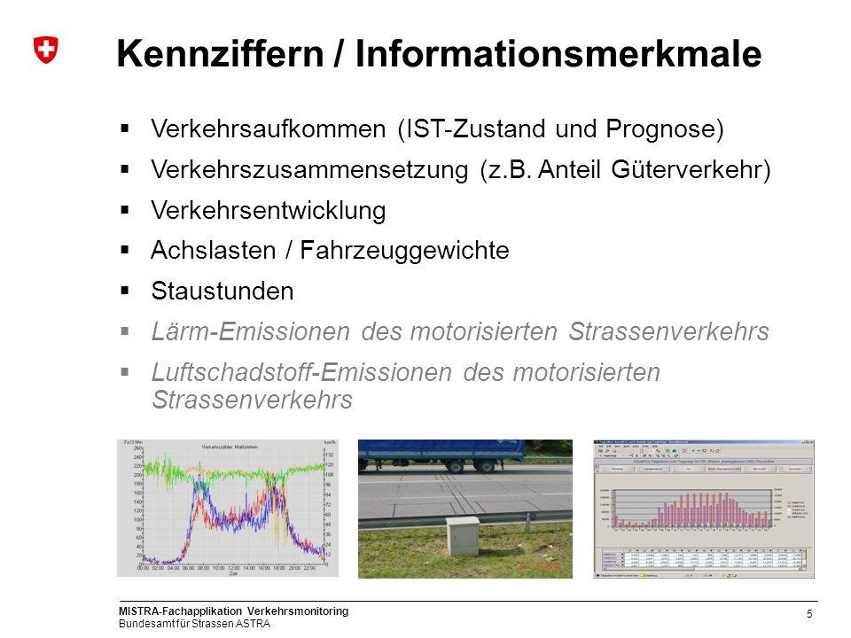MISTRA-Fachapplikation Verkehrsmonitoring Bundesamt für Strassen ASTRA 5 Verkehrsaufkommen (IST-Zustand und Prognose) Verkehrszusammensetzung (z.B. An