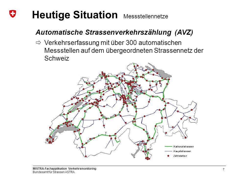 MISTRA-Fachapplikation Verkehrsmonitoring Bundesamt für Strassen ASTRA 7 Automatische Strassenverkehrszählung (AVZ) Verkehrserfassung mit über 300 aut