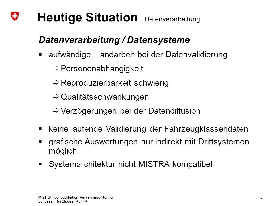 MISTRA-Fachapplikation Verkehrsmonitoring Bundesamt für Strassen ASTRA 9 Datenverarbeitung / Datensysteme aufwändige Handarbeit bei der Datenvalidieru