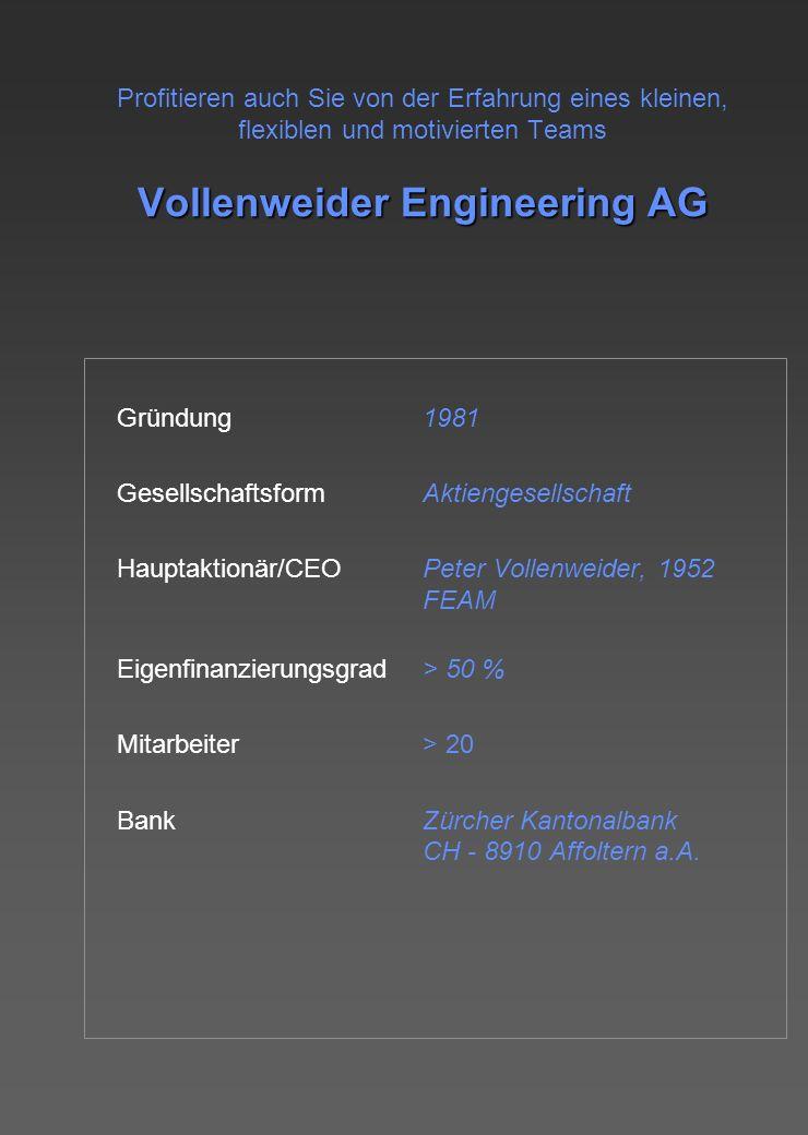Vollenweider Engineering AG Profitieren auch Sie von der Erfahrung eines kleinen, flexiblen und motivierten Teams Vollenweider Engineering AG Gründung1981 GesellschaftsformAktiengesellschaft Hauptaktionär/CEOPeter Vollenweider, 1952 FEAM Eigenfinanzierungsgrad> 50 % Mitarbeiter> 20 BankZürcher Kantonalbank CH - 8910 Affoltern a.A.