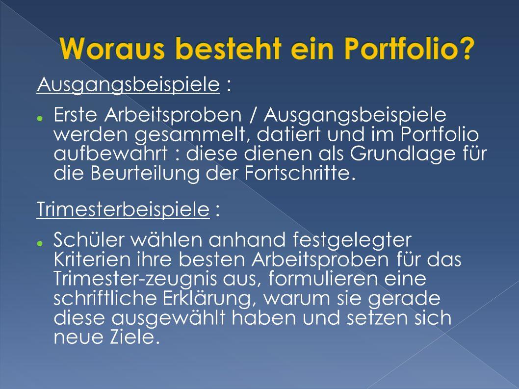 Ausgangsbeispiele : Erste Arbeitsproben / Ausgangsbeispiele werden gesammelt, datiert und im Portfolio aufbewahrt : diese dienen als Grundlage für die