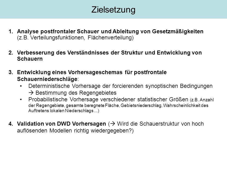 1.Analyse postfrontaler Schauer und Ableitung von Gesetzmäßigkeiten (z.B. Verteilungsfunktionen, Flächenverteilung) 2.Verbesserung des Verständnisses