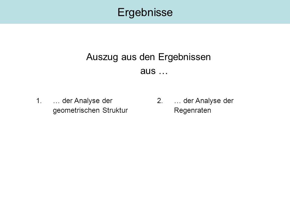 Auszug aus den Ergebnissen aus … Ergebnisse 1.… der Analyse der geometrischen Struktur 2.… der Analyse der Regenraten