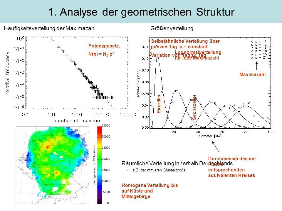 Häufigkeitsverteilung der MaximazahlGrößenverteilung 1. Analyse der geometrischen Struktur Räumliche Verteilung innerhalb Deutschlands z.B. der mittle