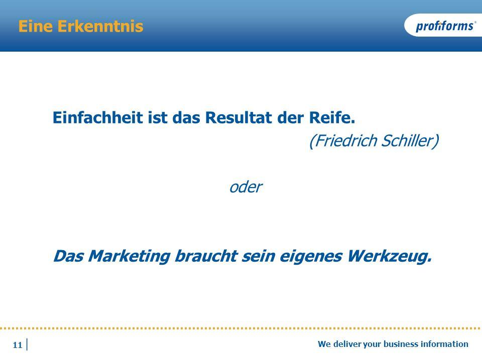 11 | We deliver your business information Eine Erkenntnis Einfachheit ist das Resultat der Reife. (Friedrich Schiller) oder Das Marketing braucht sein