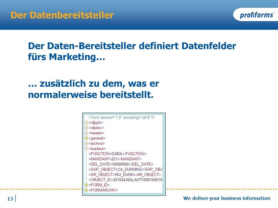 13 | We deliver your business information Der Datenbereitsteller Der Daten-Bereitsteller definiert Datenfelder fürs Marketing… … zusätzlich zu dem, wa