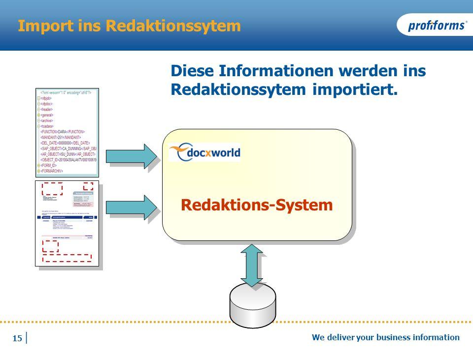 15 | We deliver your business information Import ins Redaktionssytem Diese Informationen werden ins Redaktionssytem importiert. Redaktions-System