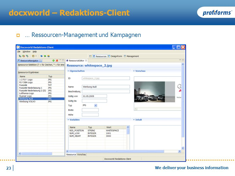 23 | We deliver your business information docxworld – Redaktions-Client … Ressourcen-Management und Kampagnen