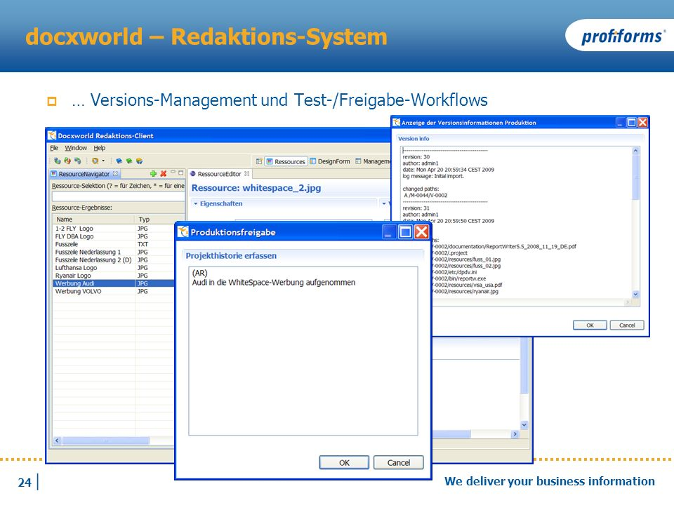 24 | We deliver your business information docxworld – Redaktions-System … Versions-Management und Test-/Freigabe-Workflows