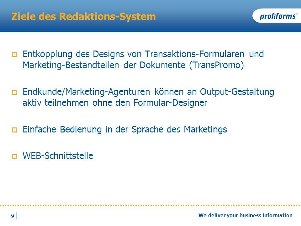 20 | We deliver your business information Eine Erkenntnis Anstelle einer Live Demo.
