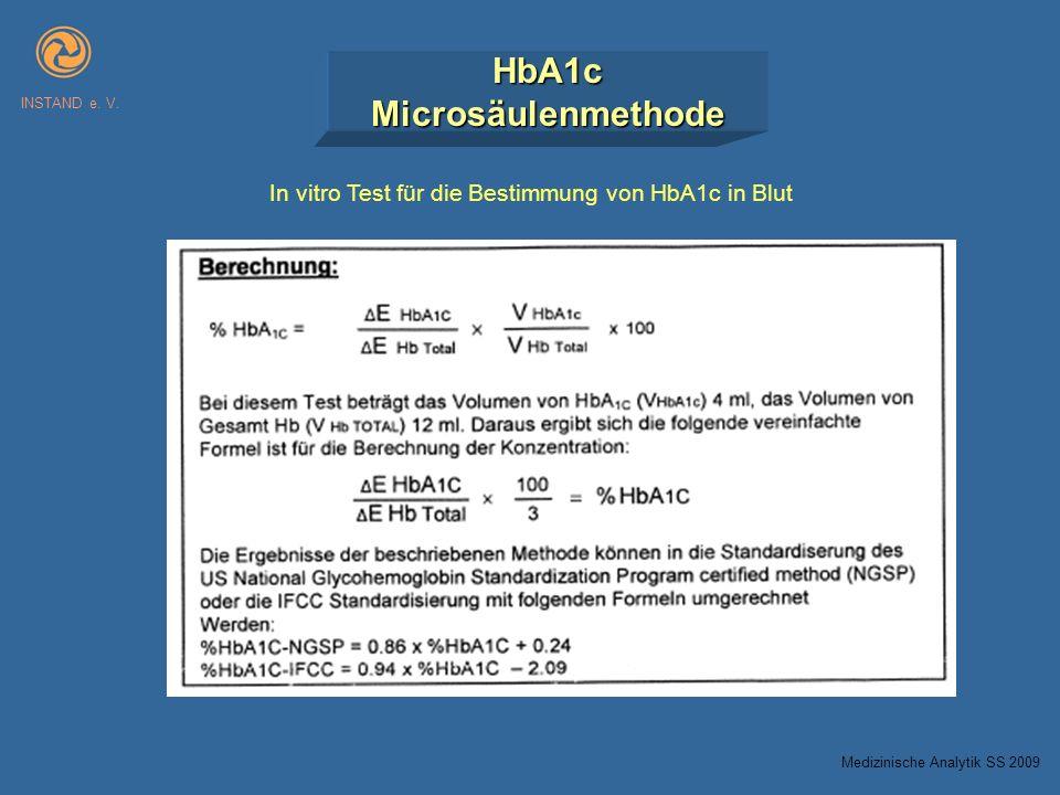 HbA1cMicrosäulenmethode INSTAND e. V. In vitro Test für die Bestimmung von HbA1c in Blut Medizinische Analytik SS 2009