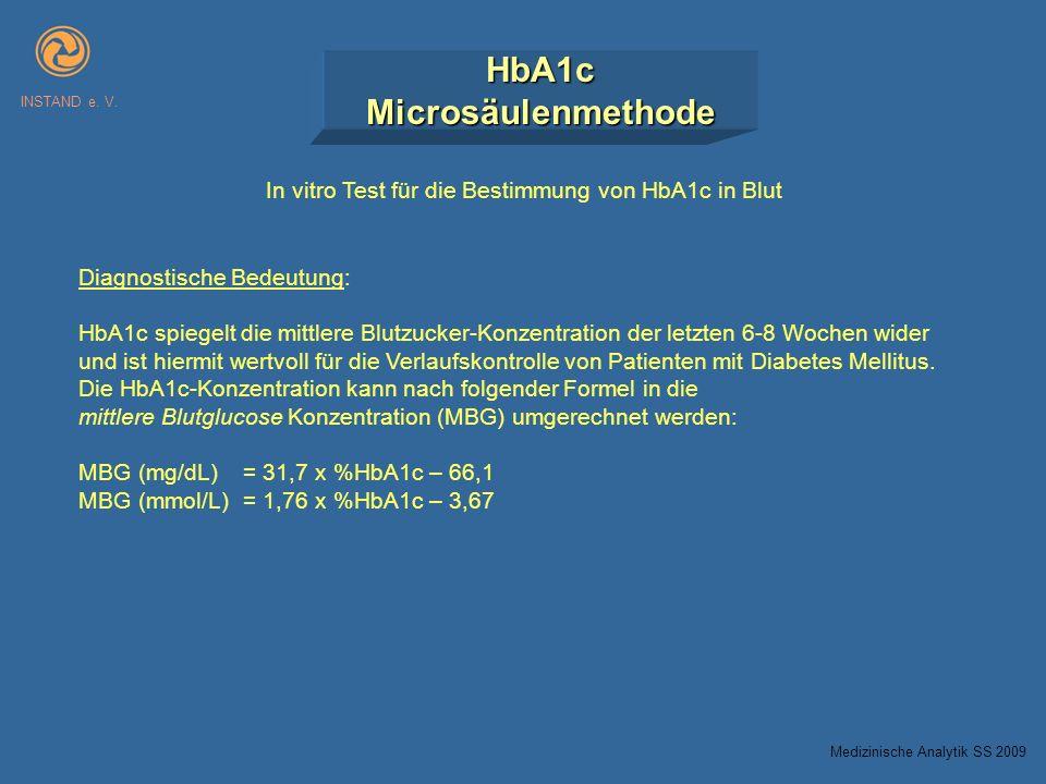 HbA1cMicrosäulenmethode INSTAND e. V. In vitro Test für die Bestimmung von HbA1c in Blut Diagnostische Bedeutung: HbA1c spiegelt die mittlere Blutzuck