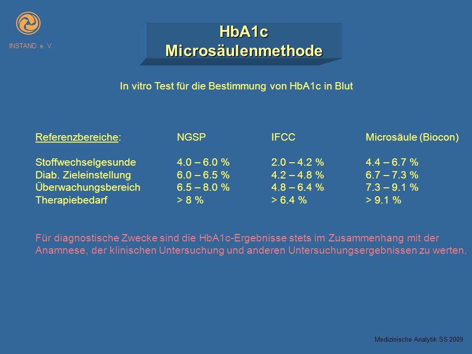 HbA1cMicrosäulenmethode INSTAND e. V. In vitro Test für die Bestimmung von HbA1c in Blut Referenzbereiche:NGSPIFCCMicrosäule (Biocon) Stoffwechselgesu
