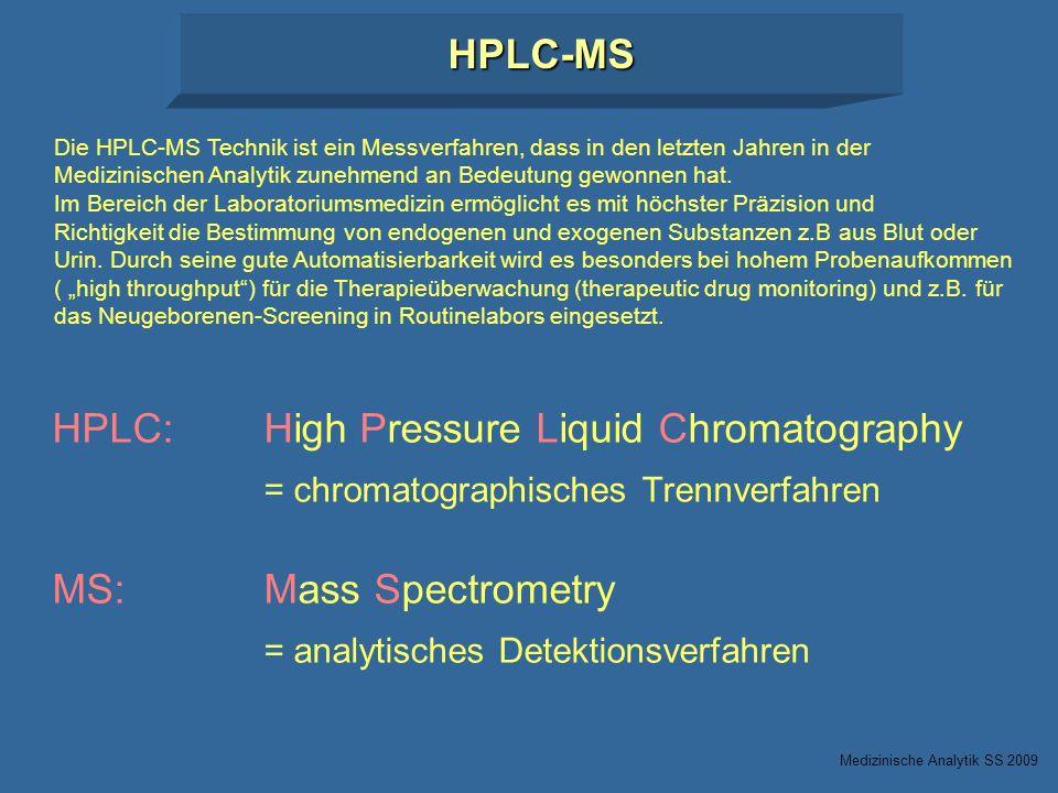 HPLC:High Pressure Liquid Chromatography = chromatographisches Trennverfahren MS:Mass Spectrometry = analytisches Detektionsverfahren HPLC-MS Die HPLC