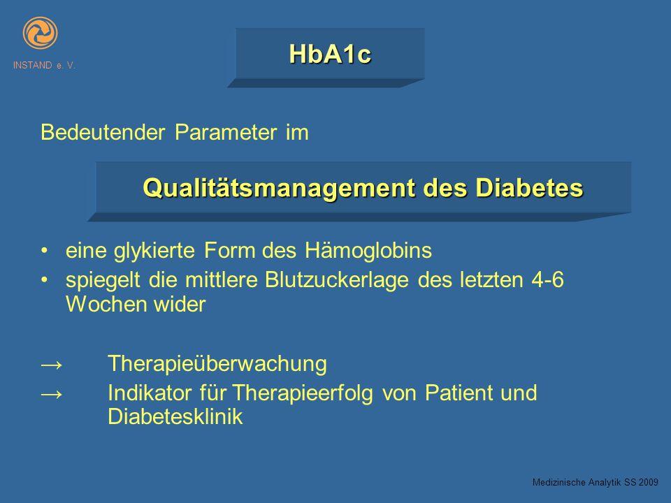 HbA1c INSTAND e. V. Bedeutender Parameter im eine glykierte Form des Hämoglobins spiegelt die mittlere Blutzuckerlage des letzten 4-6 Wochen wider The