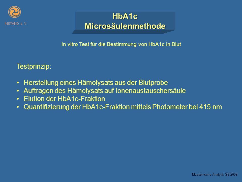 HbA1cMicrosäulenmethode INSTAND e. V. In vitro Test für die Bestimmung von HbA1c in Blut Testprinzip: Herstellung eines Hämolysats aus der Blutprobe A