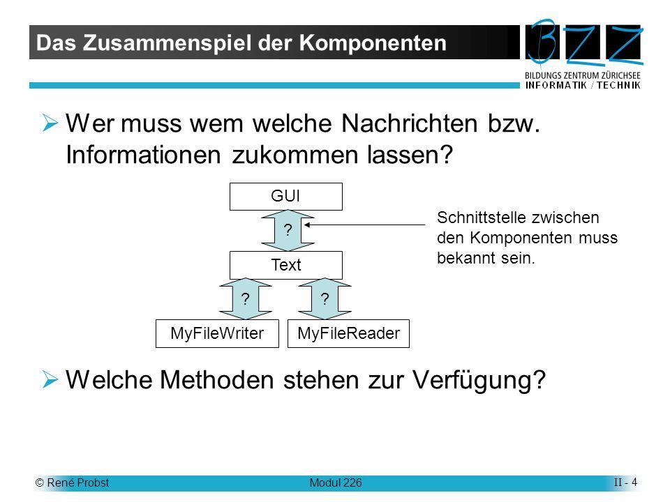 © René ProbstModul 226II - 5 Die Methoden Datenaustausch erfolgt durch Nutzung der Methoden (Schnittstellen) der Komponenten Die genauen Kenntnisse der Methoden ist unerlässlich, für die Nutzung einer Klasse.