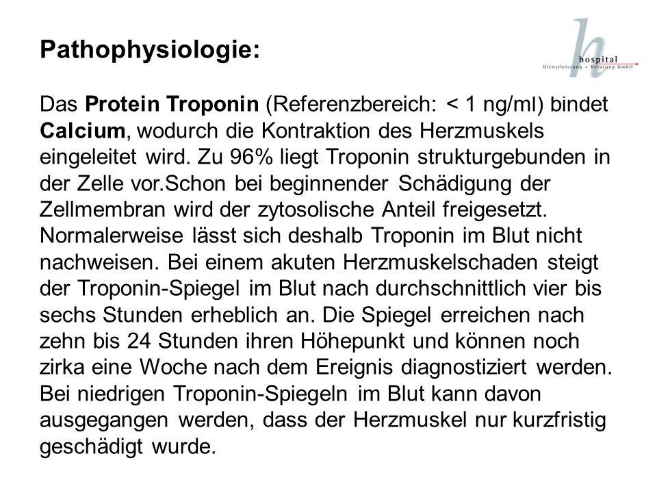 Pathophysiologie: Das Protein Troponin (Referenzbereich: < 1 ng/ml) bindet Calcium, wodurch die Kontraktion des Herzmuskels eingeleitet wird. Zu 96% l