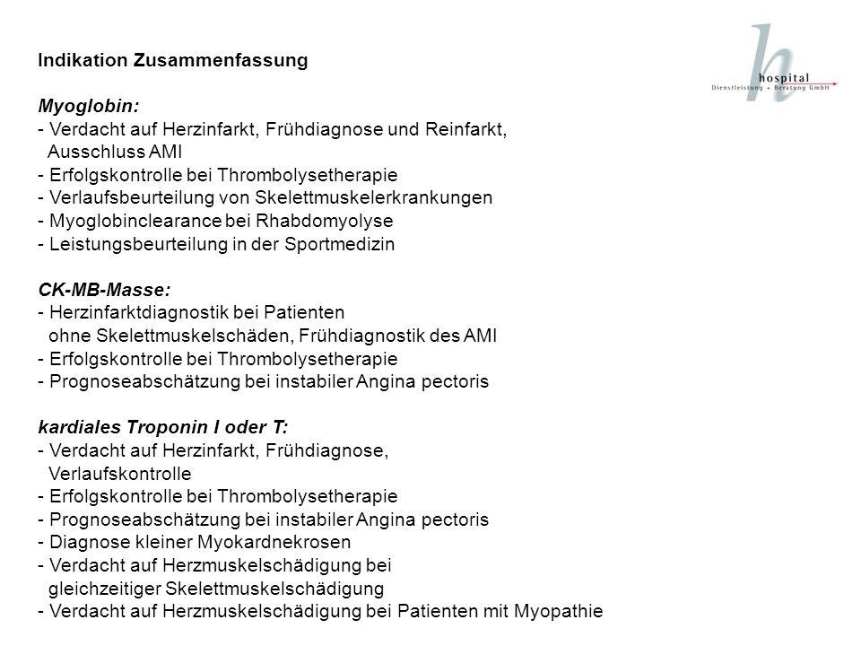 Indikation Zusammenfassung Myoglobin: - Verdacht auf Herzinfarkt, Frühdiagnose und Reinfarkt, Ausschluss AMI - Erfolgskontrolle bei Thrombolysetherapi