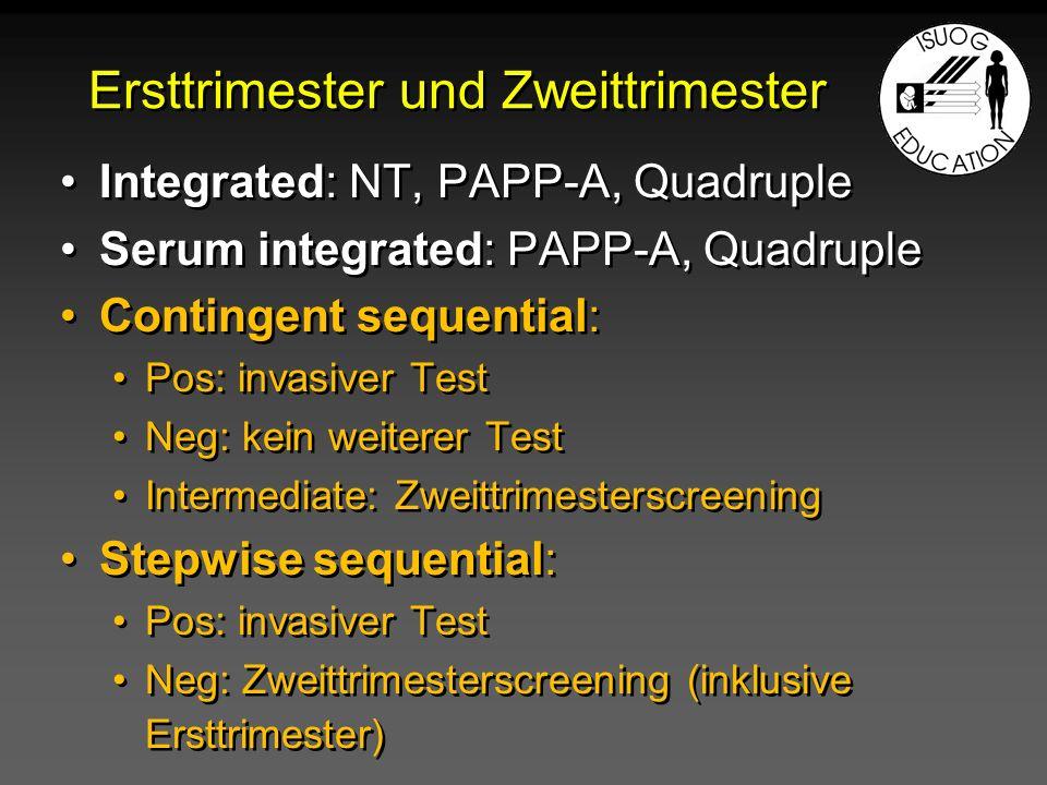 Ersttrimester und Zweittrimester Integrated: NT, PAPP-A, Quadruple Serum integrated: PAPP-A, Quadruple Contingent sequential: Pos: invasiver Test Neg:
