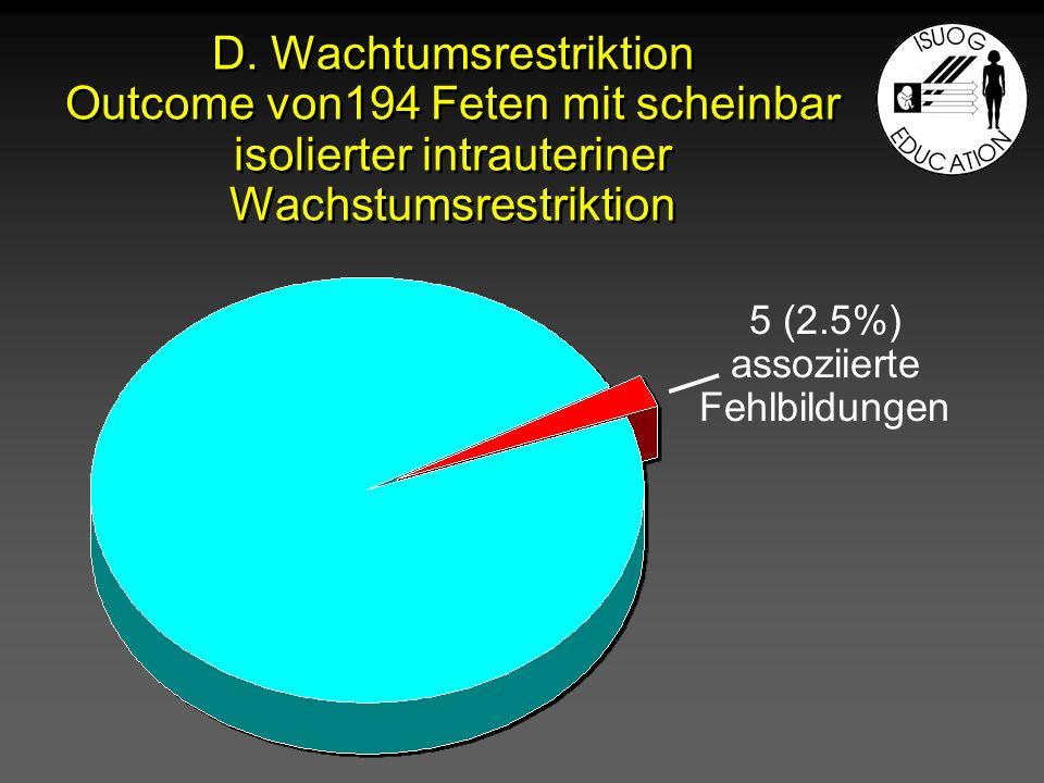 D. Wachtumsrestriktion Outcome von194 Feten mit scheinbar isolierter intrauteriner Wachstumsrestriktion 5 (2.5%) assoziierte Fehlbildungen