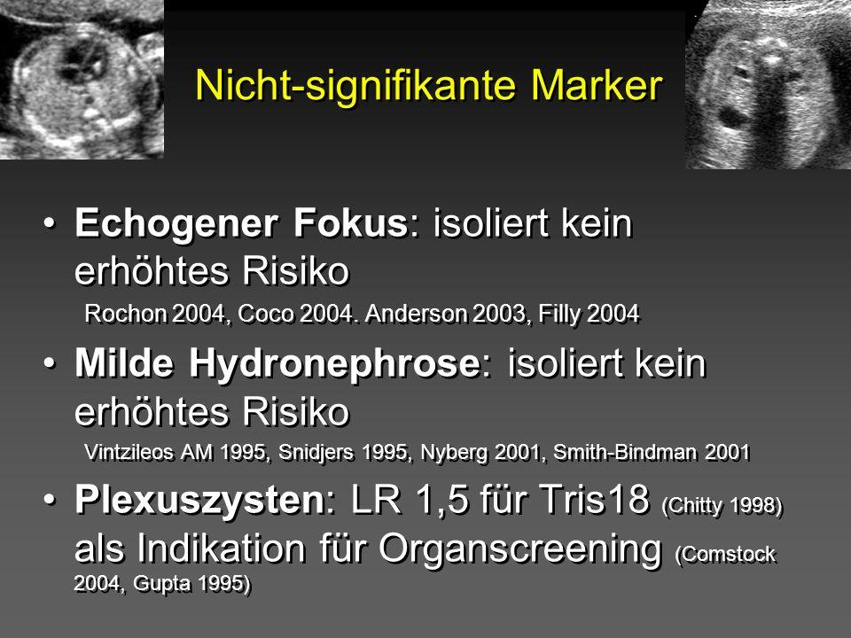Nicht-signifikante Marker Echogener Fokus: isoliert kein erhöhtes Risiko Rochon 2004, Coco 2004. Anderson 2003, Filly 2004 Milde Hydronephrose: isolie