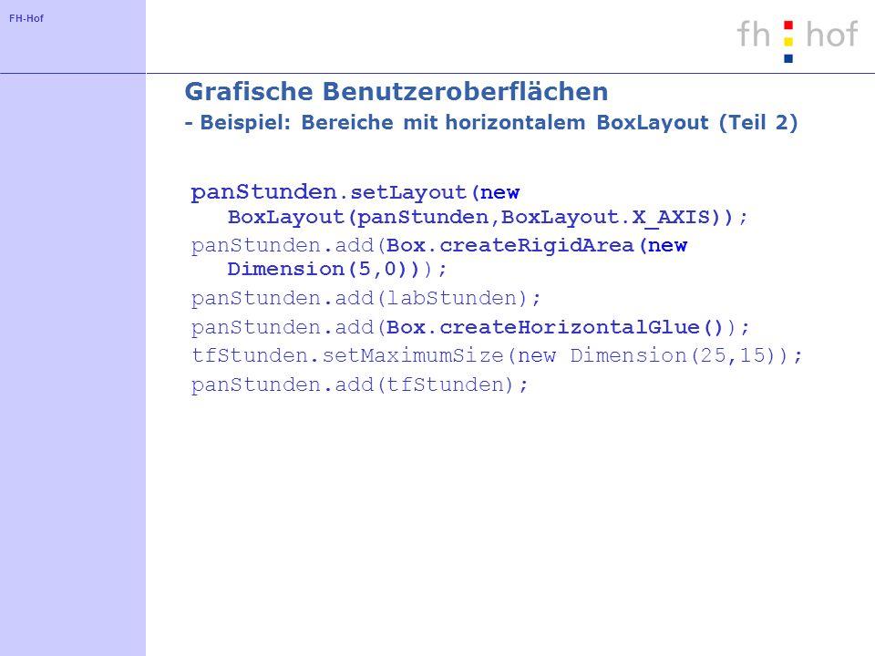 FH-Hof Grafische Benutzeroberflächen - Beispiel: Bereiche mit horizontalem BoxLayout (Teil 2) panStunden.setLayout(new BoxLayout(panStunden,BoxLayout.