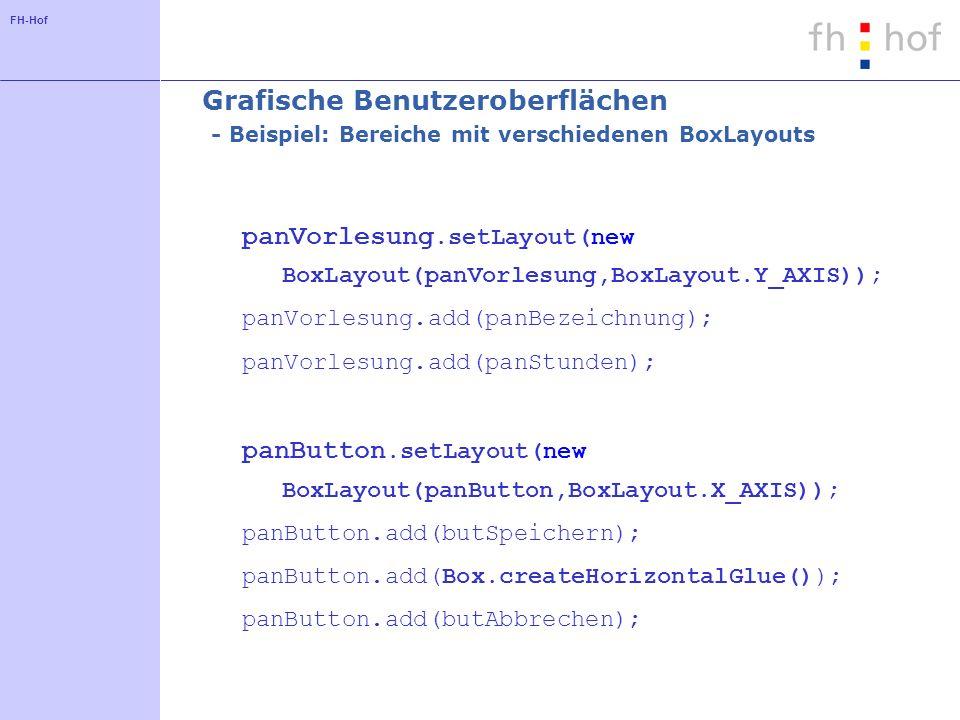 FH-Hof Grafische Benutzeroberflächen - Beispiel: Bereiche mit verschiedenen BoxLayouts panVorlesung.setLayout(new BoxLayout(panVorlesung,BoxLayout.Y_A