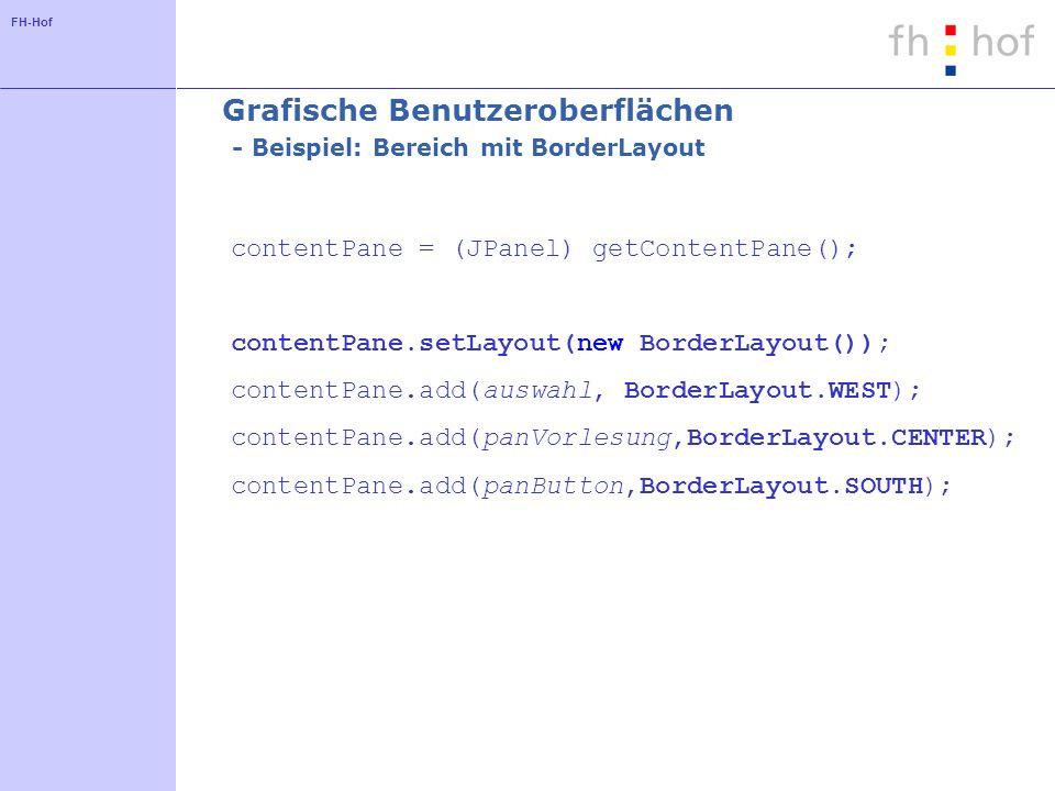FH-Hof Grafische Benutzeroberflächen - Beispiel: Bereich mit BorderLayout contentPane = (JPanel) getContentPane(); contentPane.setLayout(new BorderLay