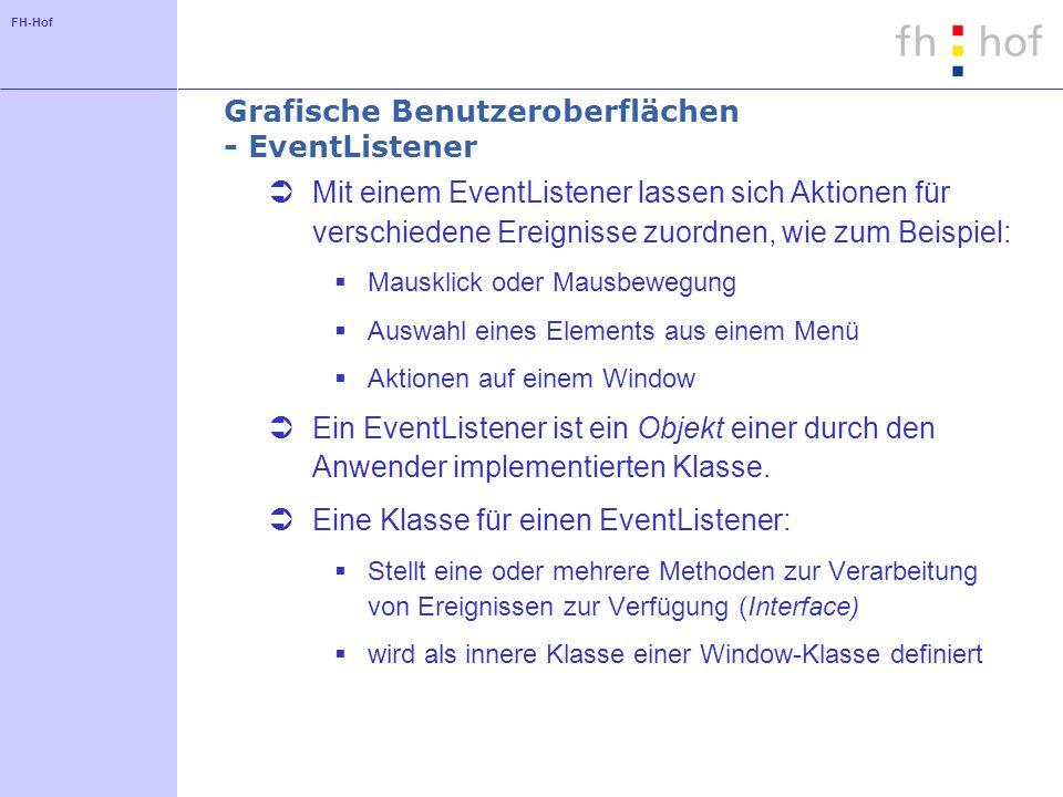 FH-Hof Grafische Benutzeroberflächen - EventListener Mit einem EventListener lassen sich Aktionen für verschiedene Ereignisse zuordnen, wie zum Beispi