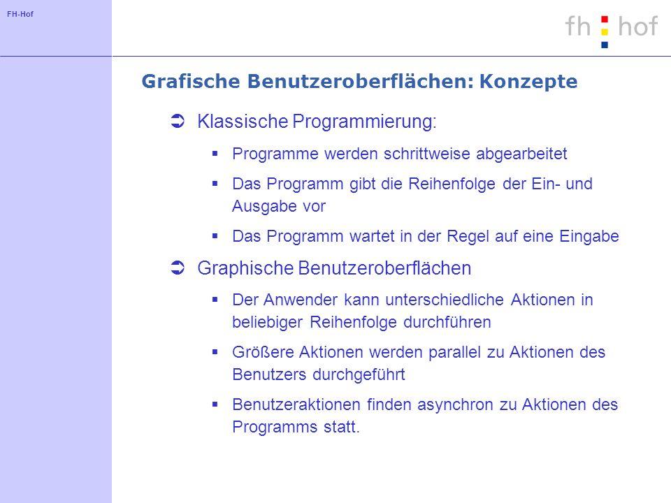 FH-Hof Grafische Benutzeroberflächen: Konzepte Klassische Programmierung: Programme werden schrittweise abgearbeitet Das Programm gibt die Reihenfolge