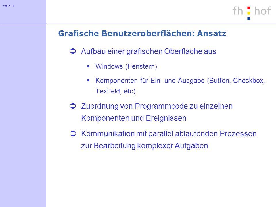 FH-Hof Grafische Benutzeroberflächen: Ansatz Aufbau einer grafischen Oberfläche aus Windows (Fenstern) Komponenten für Ein- und Ausgabe (Button, Check