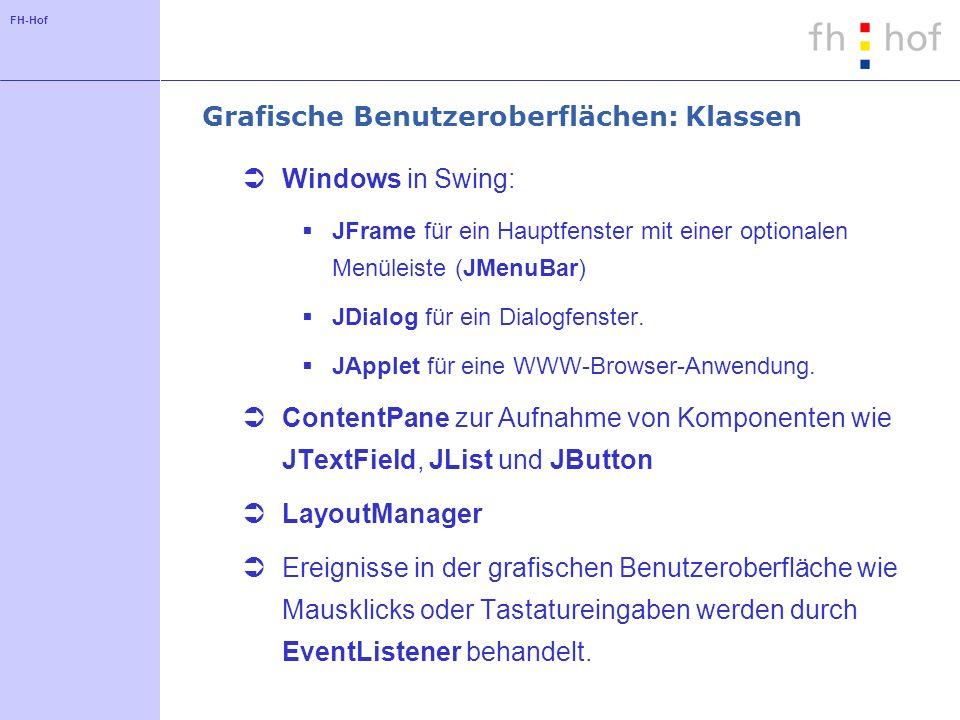 FH-Hof Grafische Benutzeroberflächen: Klassen Windows in Swing: JFrame für ein Hauptfenster mit einer optionalen Menüleiste (JMenuBar) JDialog für ein