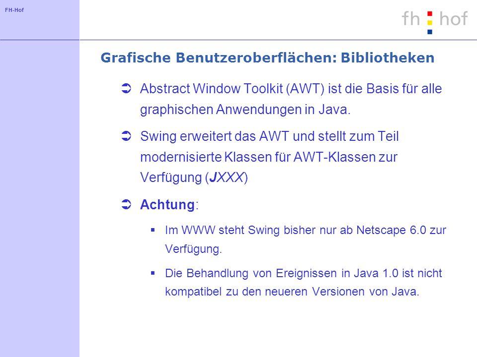 FH-Hof Grafische Benutzeroberflächen: Imports Typische Packages import java.awt.*; import java.awt.event.*; import javax.swing.*; import javax.swing.event.*;...