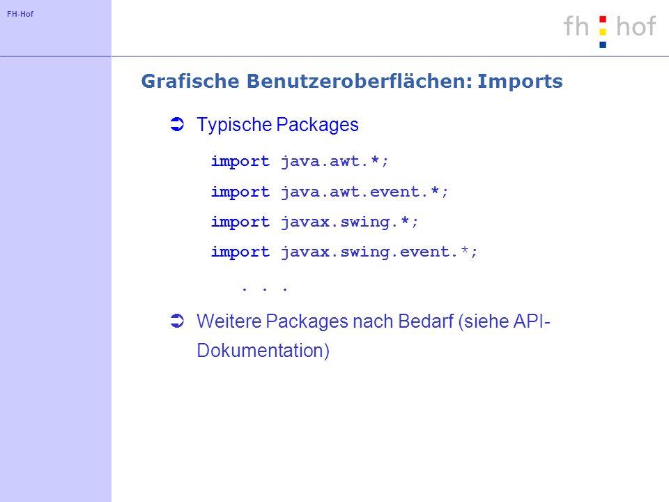 FH-Hof Grafische Benutzeroberflächen: Imports Typische Packages import java.awt.*; import java.awt.event.*; import javax.swing.*; import javax.swing.e