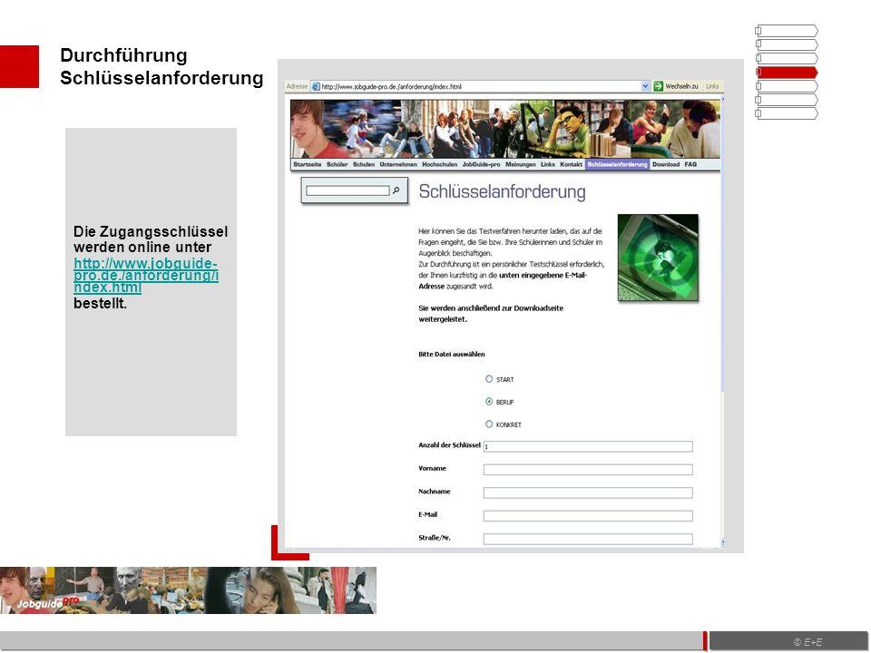Durchführung Schlüsselanforderung © E+E Die Zugangsschlüssel werden online unter http://www.jobguide- pro.de./anforderung/i ndex.html bestellt.