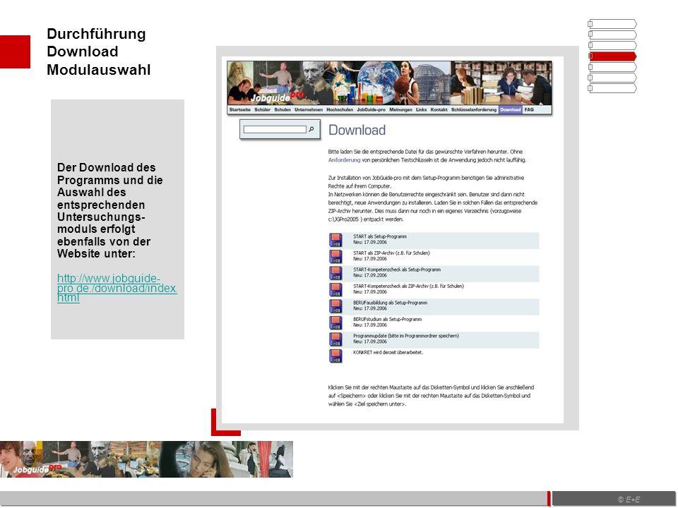 Durchführung Download Modulauswahl © E+E Der Download des Programms und die Auswahl des entsprechenden Untersuchungs- moduls erfolgt ebenfalls von der Website unter: http://www.jobguide- pro.de./download/index.