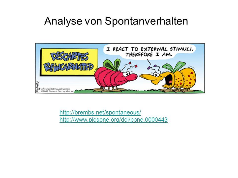 Analyse von Spontanverhalten http://brembs.net/spontaneous/ http://www.plosone.org/doi/pone.0000443